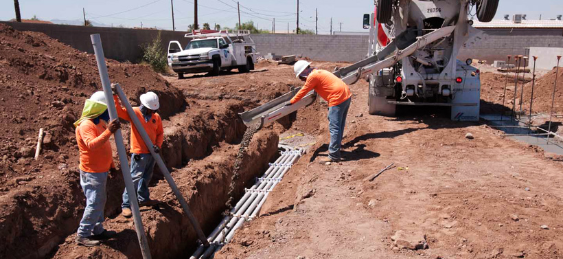 PHOENIX PAVER MFG. New Plant Construction Progress Photos: Electrical trenches being sealed