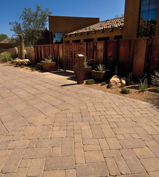 Modern Home with Forza Style Tumbled Paver Stone driveway